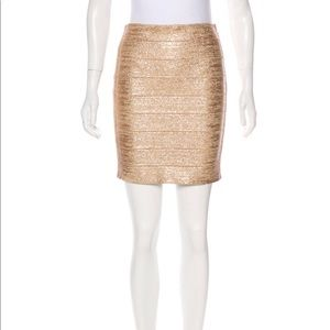 Haute Hippie Gold Metallic Bandage Skirt